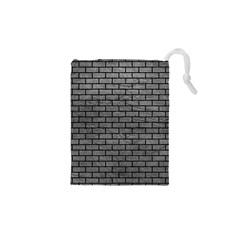 Brick1 Black Marble & Gray Leather (r) Drawstring Pouches (xs)