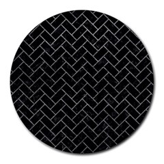 Brick2 Black Marble & Gray Leather Round Mousepads