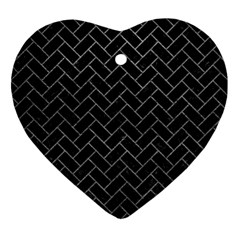 Brick2 Black Marble & Gray Leather Ornament (heart)