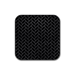 Brick2 Black Marble & Gray Leather Rubber Square Coaster (4 Pack)