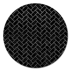 Brick2 Black Marble & Gray Leather Magnet 5  (round)