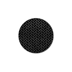 Brick2 Black Marble & Gray Leather Golf Ball Marker