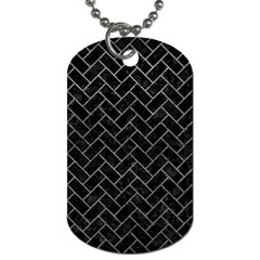 Brick2 Black Marble & Gray Leather Dog Tag (two Sides)