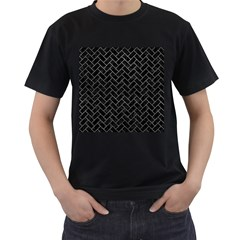 Brick2 Black Marble & Gray Leather Men s T Shirt (black) (two Sided)