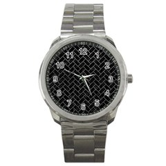 Brick2 Black Marble & Gray Leather Sport Metal Watch