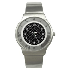 Brick2 Black Marble & Gray Leather Stainless Steel Watch