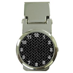 Brick2 Black Marble & Gray Leather Money Clip Watches