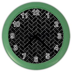 Brick2 Black Marble & Gray Leather Color Wall Clocks