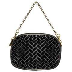 Brick2 Black Marble & Gray Leather Chain Purses (one Side)