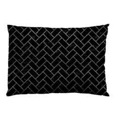 Brick2 Black Marble & Gray Leather Pillow Case