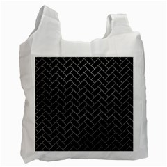 Brick2 Black Marble & Gray Leather Recycle Bag (one Side)