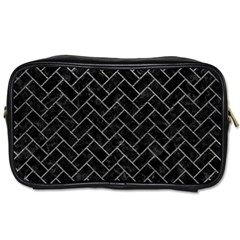 Brick2 Black Marble & Gray Leather Toiletries Bags
