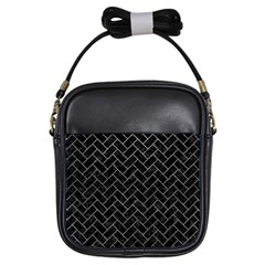 Brick2 Black Marble & Gray Leather Girls Sling Bags