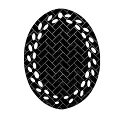 Brick2 Black Marble & Gray Leather Oval Filigree Ornament (two Sides)