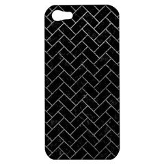 Brick2 Black Marble & Gray Leather Apple Iphone 5 Hardshell Case
