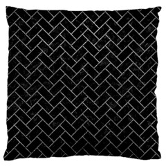 Brick2 Black Marble & Gray Leather Standard Flano Cushion Case (two Sides)