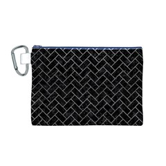 Brick2 Black Marble & Gray Leather Canvas Cosmetic Bag (m)