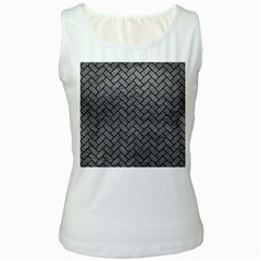 Brick2 Black Marble & Gray Leather (r) Women s White Tank Top