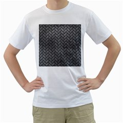 Brick2 Black Marble & Gray Leather (r) Men s T Shirt (white) (two Sided)