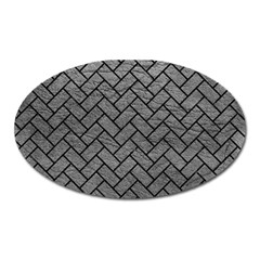 Brick2 Black Marble & Gray Leather (r) Oval Magnet