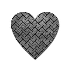 Brick2 Black Marble & Gray Leather (r) Heart Magnet