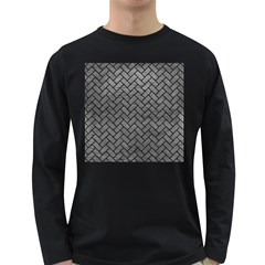 Brick2 Black Marble & Gray Leather (r) Long Sleeve Dark T Shirts