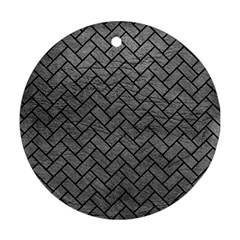Brick2 Black Marble & Gray Leather (r) Round Ornament (two Sides)
