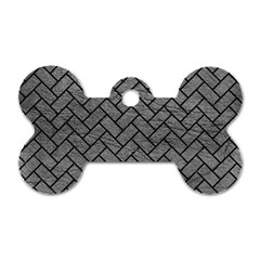 Brick2 Black Marble & Gray Leather (r) Dog Tag Bone (two Sides)