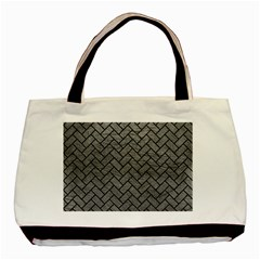 Brick2 Black Marble & Gray Leather (r) Basic Tote Bag (two Sides)