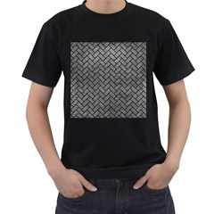 Brick2 Black Marble & Gray Leather (r) Men s T Shirt (black)