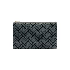 Brick2 Black Marble & Gray Leather (r) Cosmetic Bag (small)