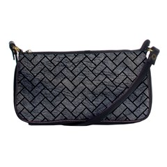 Brick2 Black Marble & Gray Leather (r) Shoulder Clutch Bags