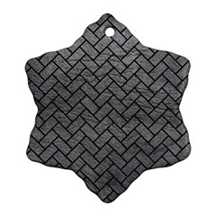Brick2 Black Marble & Gray Leather (r) Snowflake Ornament (two Sides)