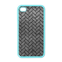 Brick2 Black Marble & Gray Leather (r) Apple Iphone 4 Case (color)