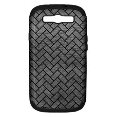 Brick2 Black Marble & Gray Leather (r) Samsung Galaxy S Iii Hardshell Case (pc+silicone)