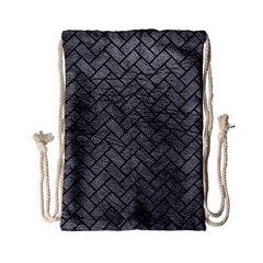 Brick2 Black Marble & Gray Leather (r) Drawstring Bag (small)