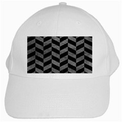 Chevron1 Black Marble & Gray Leather White Cap