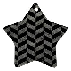 Chevron1 Black Marble & Gray Leather Ornament (star)