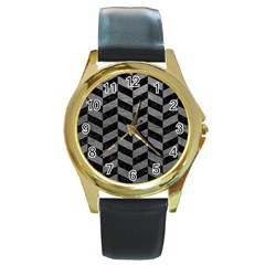 Chevron1 Black Marble & Gray Leather Round Gold Metal Watch