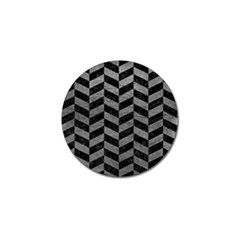 Chevron1 Black Marble & Gray Leather Golf Ball Marker (4 Pack)