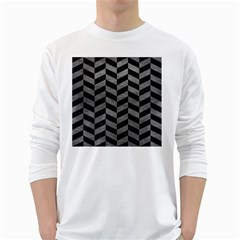 Chevron1 Black Marble & Gray Leather White Long Sleeve T Shirts