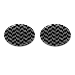Chevron1 Black Marble & Gray Leather Cufflinks (oval)