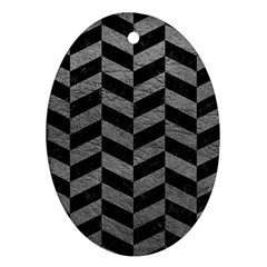Chevron1 Black Marble & Gray Leather Oval Ornament (two Sides)