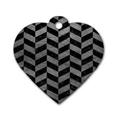 Chevron1 Black Marble & Gray Leather Dog Tag Heart (two Sides)