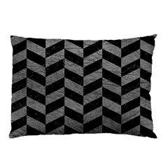 Chevron1 Black Marble & Gray Leather Pillow Case