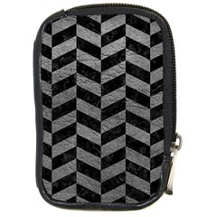 Chevron1 Black Marble & Gray Leather Compact Camera Cases