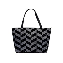 Chevron1 Black Marble & Gray Leather Shoulder Handbags