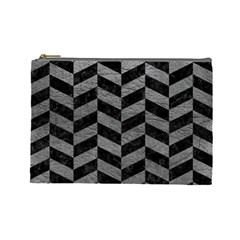 Chevron1 Black Marble & Gray Leather Cosmetic Bag (large)