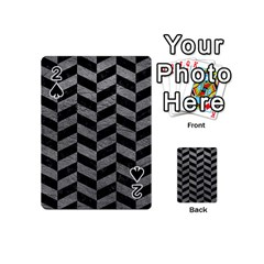 Chevron1 Black Marble & Gray Leather Playing Cards 54 (mini)