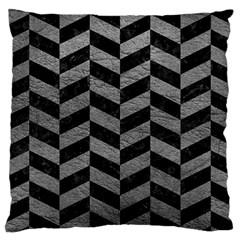 Chevron1 Black Marble & Gray Leather Large Cushion Case (one Side)